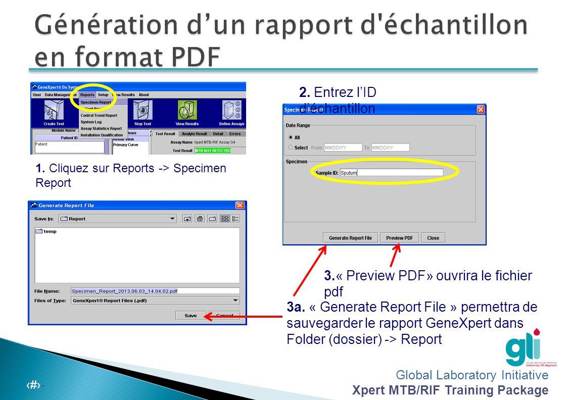 Génération d'un rapport d échantillon en format PDF