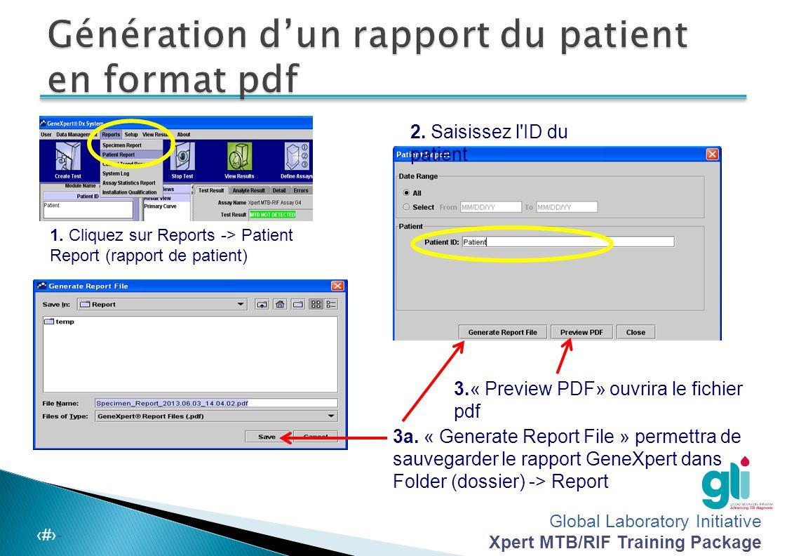 Génération d'un rapport du patient en format pdf