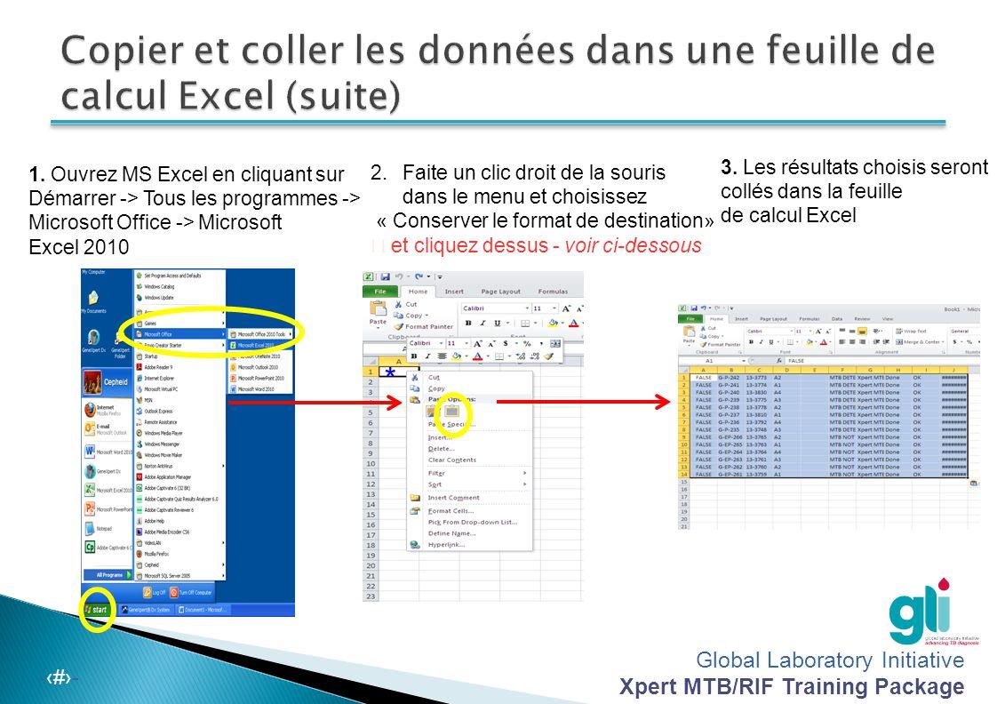 Copier et coller les données dans une feuille de calcul Excel (suite)
