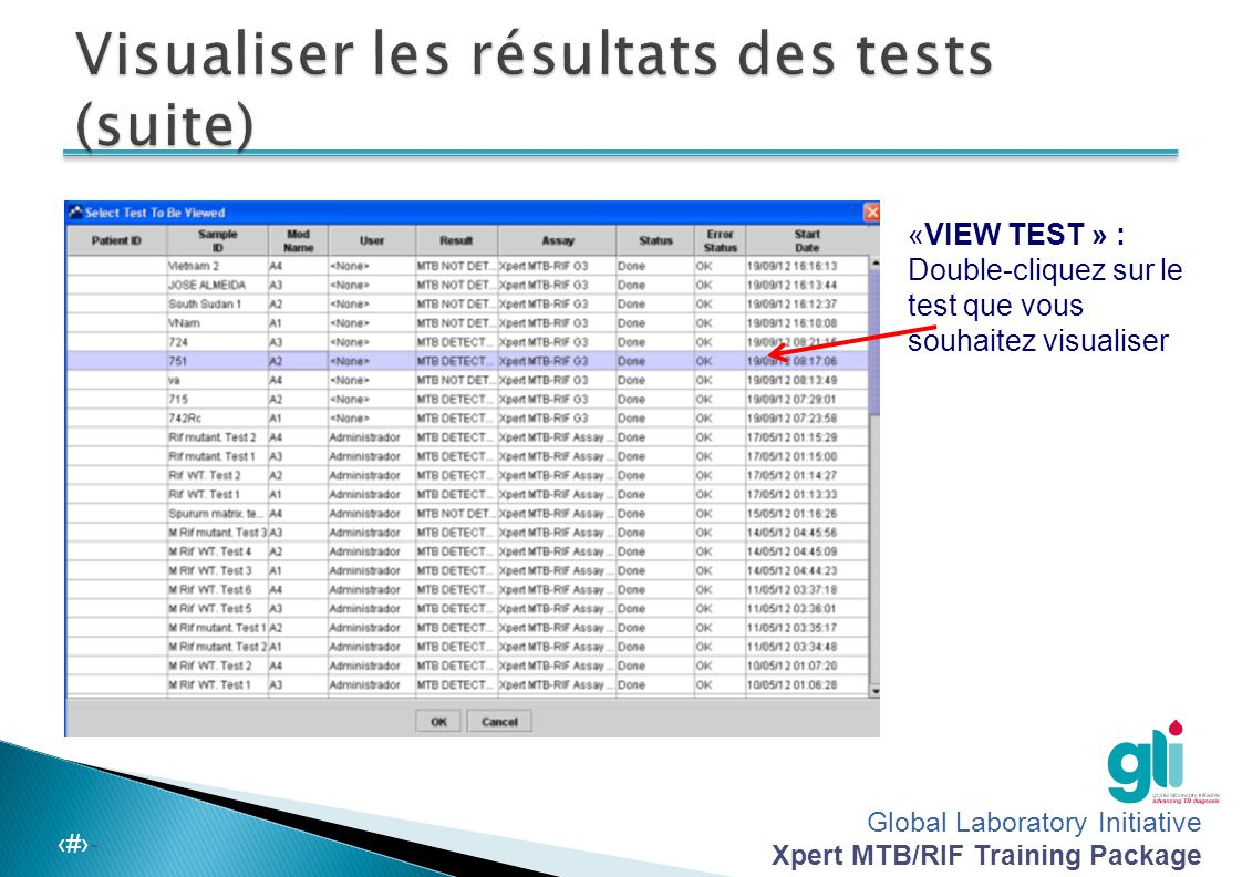 Visualiser les résultats des tests (suite)