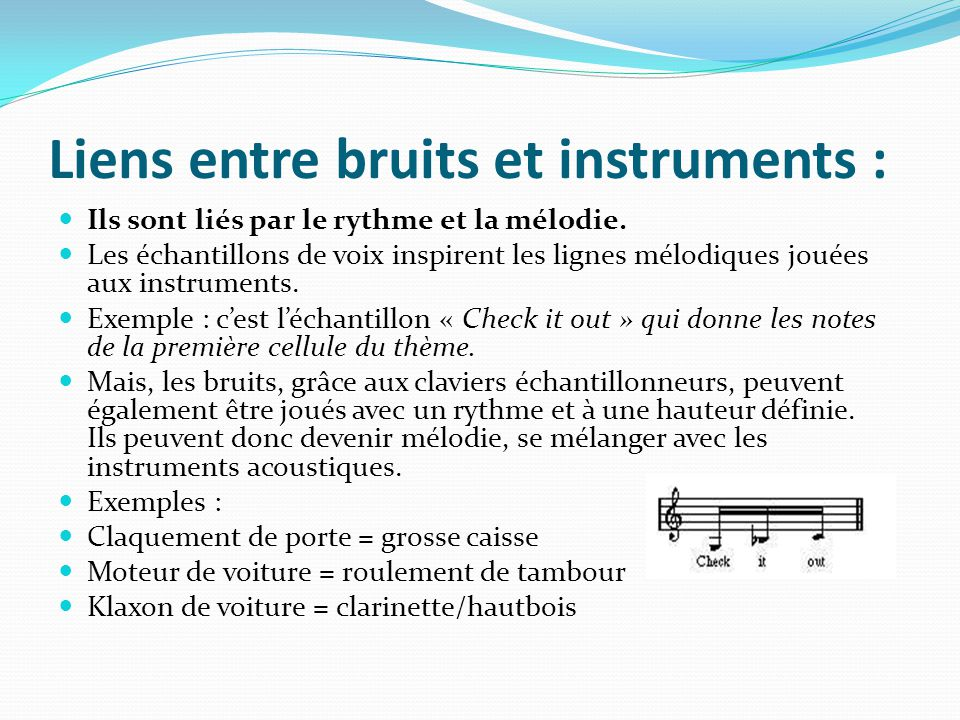Liens entre bruits et instruments :