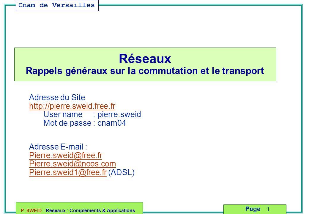 Réseaux Rappels généraux sur la commutation et le transport