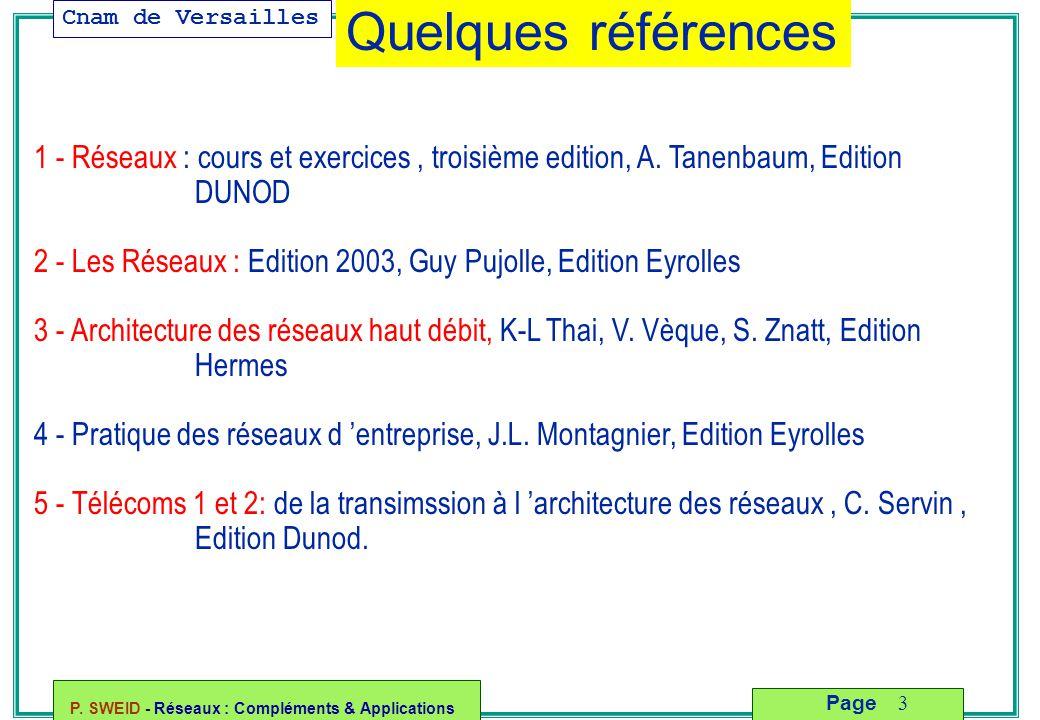 Quelques références 1 - Réseaux : cours et exercices , troisième edition, A. Tanenbaum, Edition DUNOD.