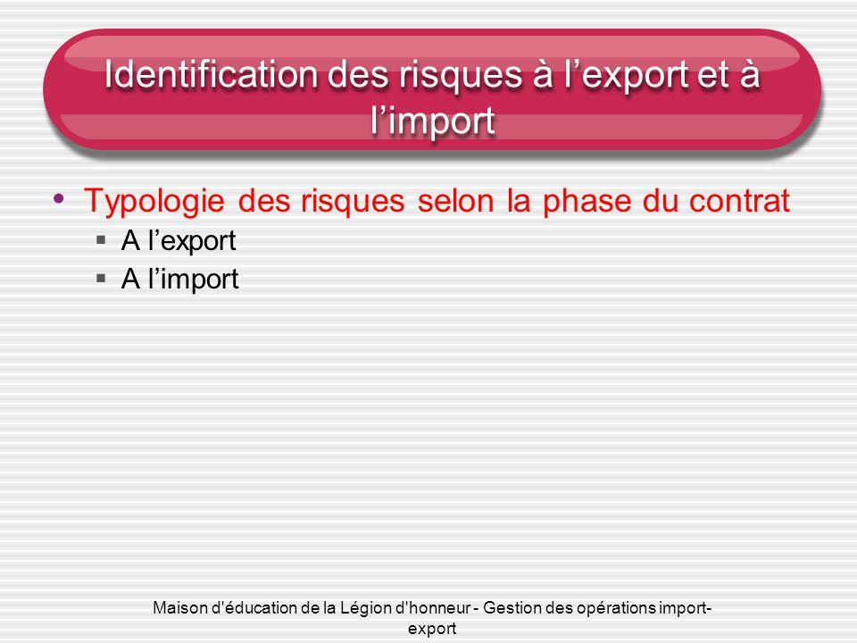 Identification des risques à l'export et à l'import