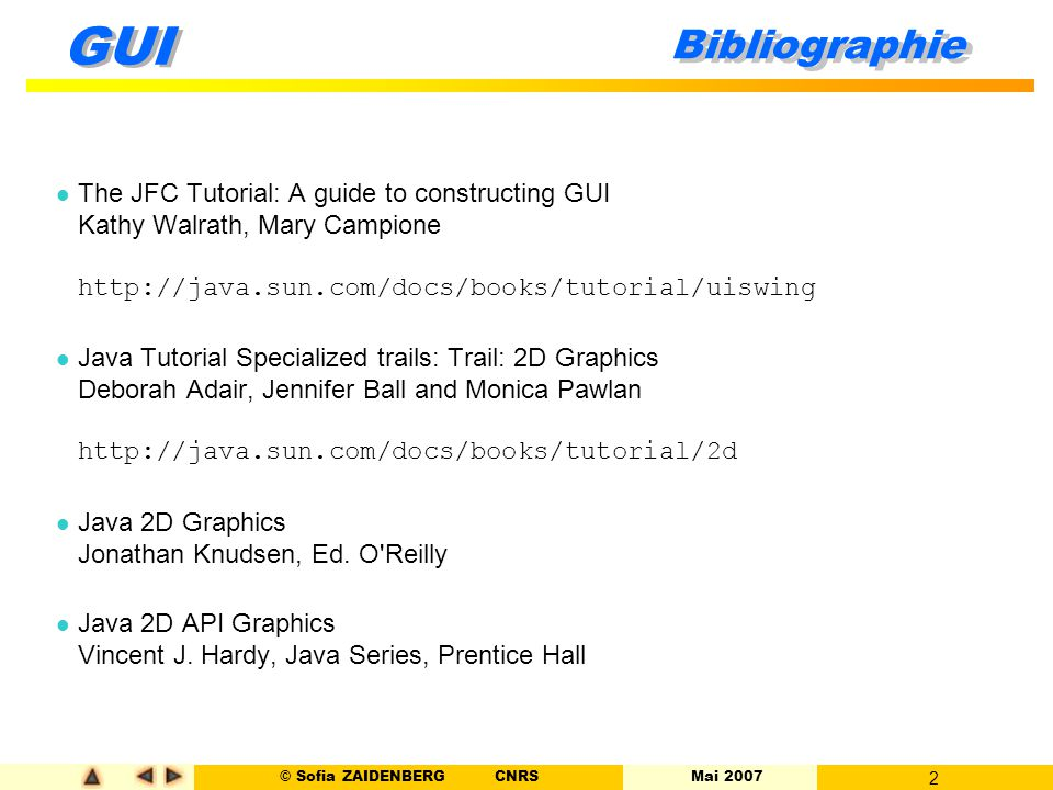 Bibliographie The JFC Tutorial: A guide to constructing GUI Kathy Walrath, Mary Campione http://java.sun.com/docs/books/tutorial/uiswing.