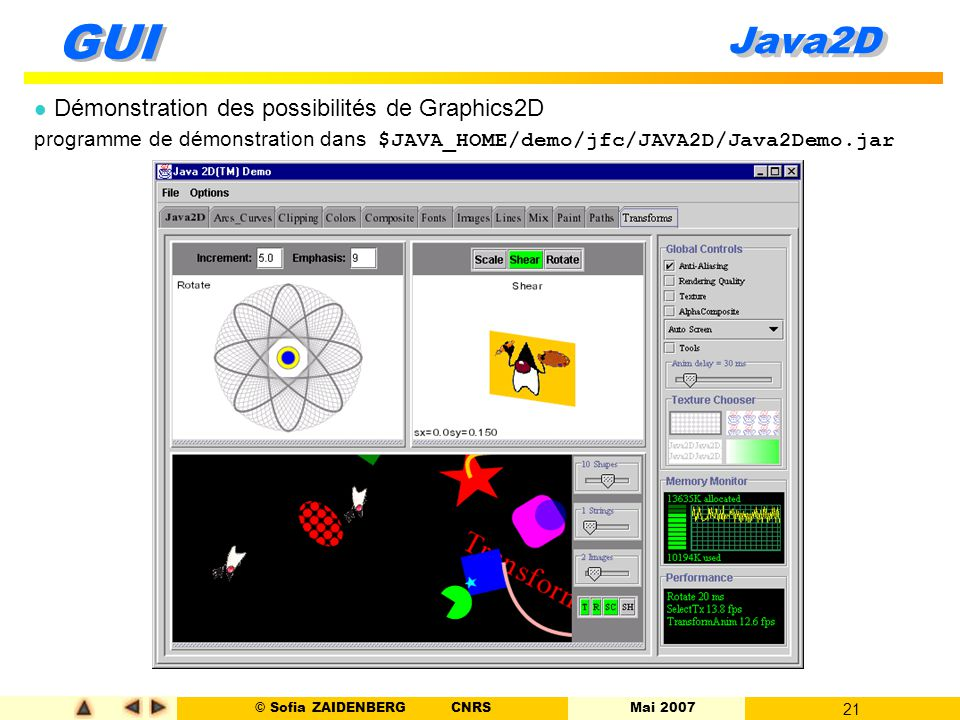 Java2D Démonstration des possibilités de Graphics2D