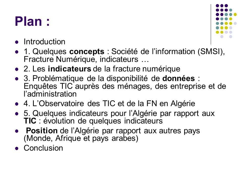 Plan : Introduction. 1. Quelques concepts : Société de l'information (SMSI), Fracture Numérique, indicateurs …