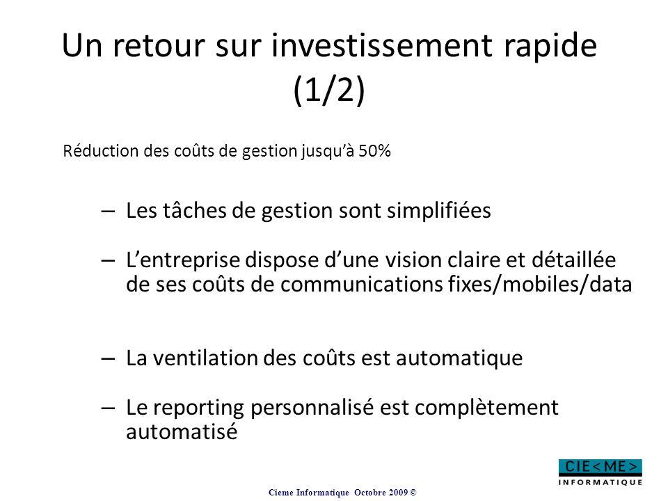Un retour sur investissement rapide (1/2)