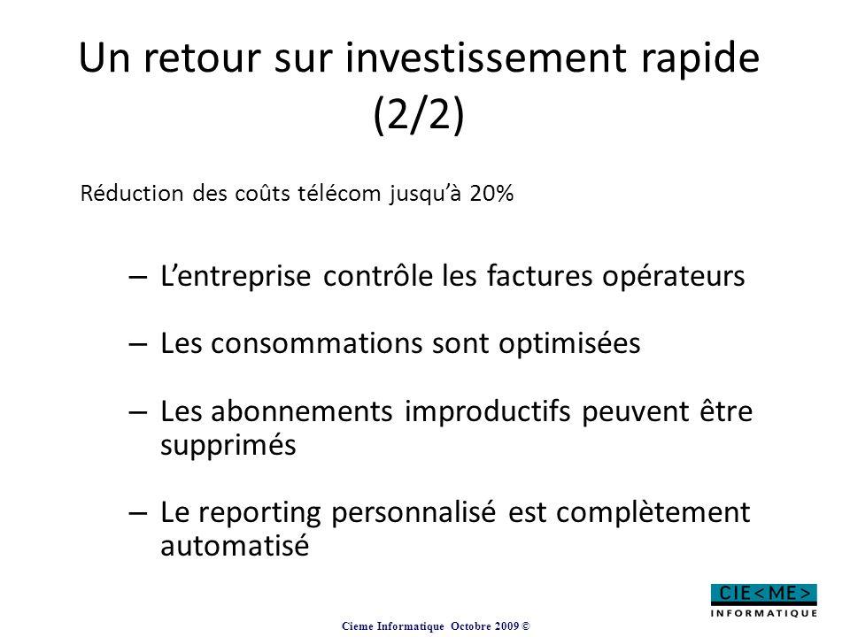 Un retour sur investissement rapide (2/2)
