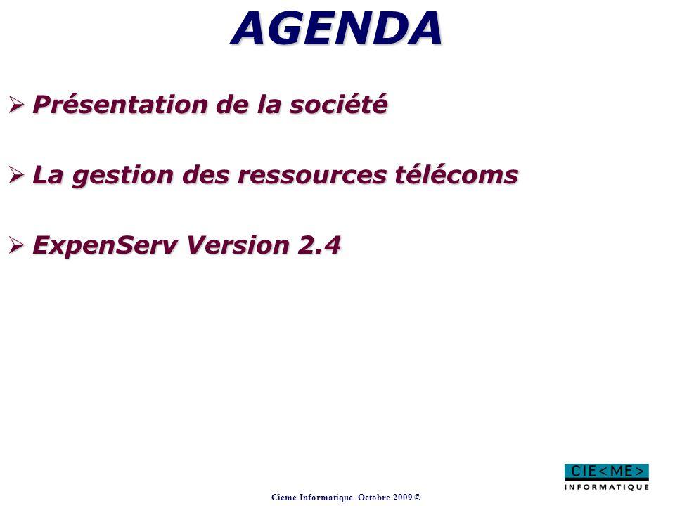 AGENDA Présentation de la société La gestion des ressources télécoms