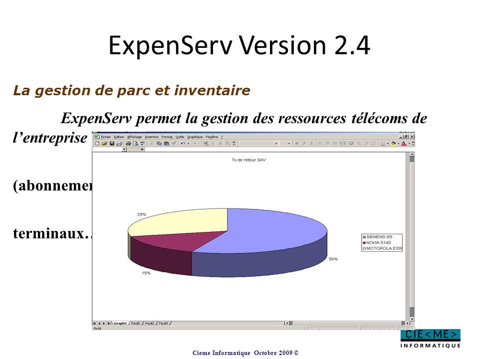 ExpenServ Version 2.4 La gestion de parc et inventaire. ExpenServ permet la gestion des ressources télécoms de l'entreprise (lignes, terminaux…)