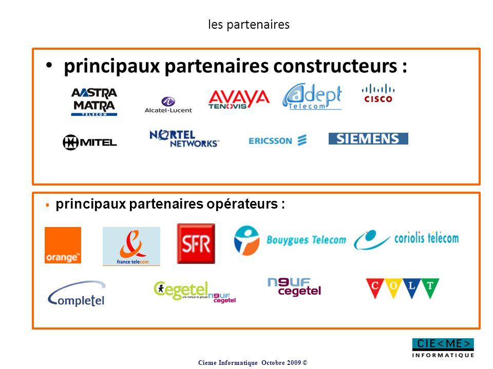 principaux partenaires constructeurs :