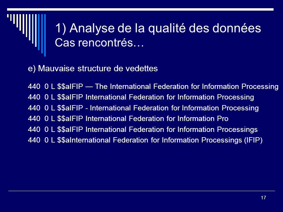 1) Analyse de la qualité des données Cas rencontrés…