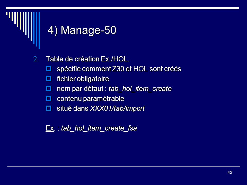 4) Manage-50 Table de création Ex./HOL.