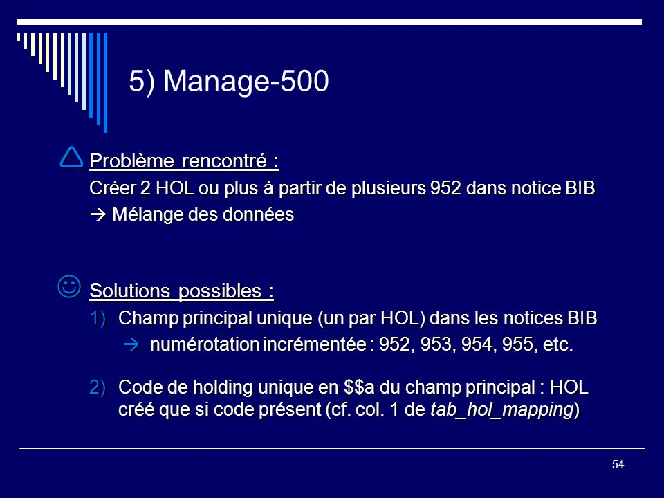 5) Manage-500 Problème rencontré : Solutions possibles :
