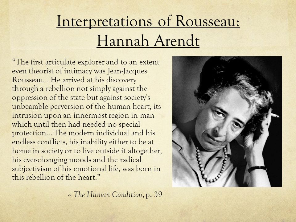 Interpretations of Rousseau: Hannah Arendt