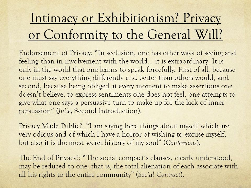 Intimacy or Exhibitionism Privacy or Conformity to the General Will