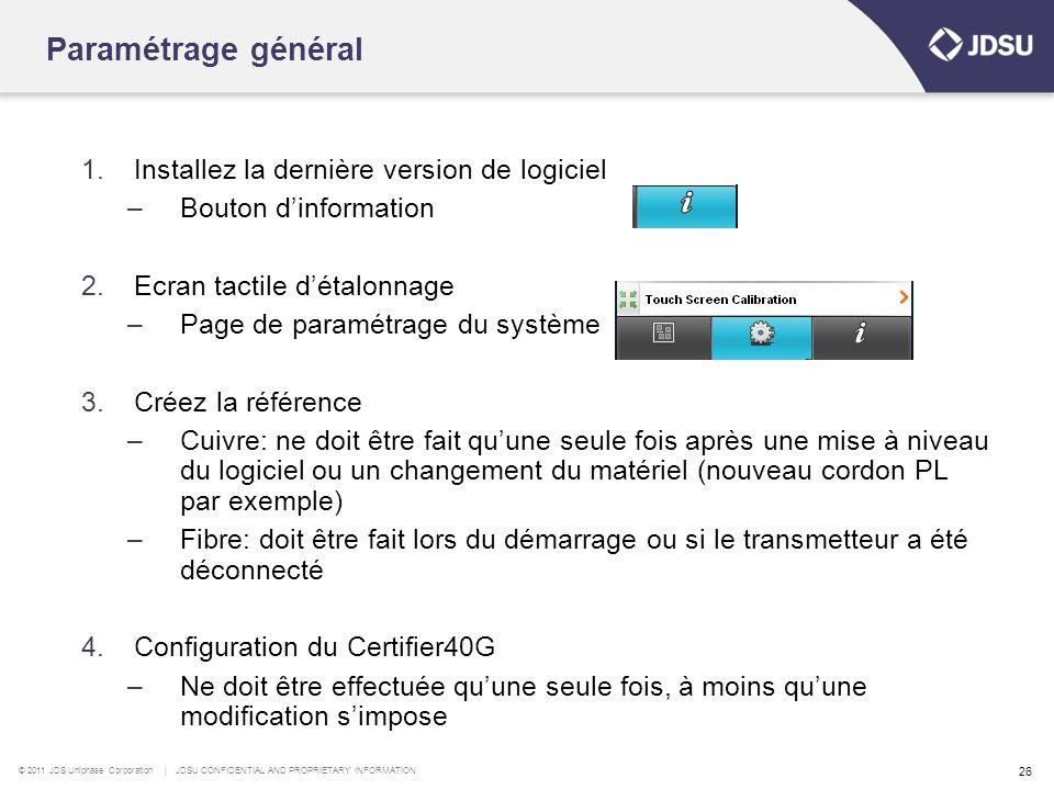 Paramétrage général Installez la dernière version de logiciel