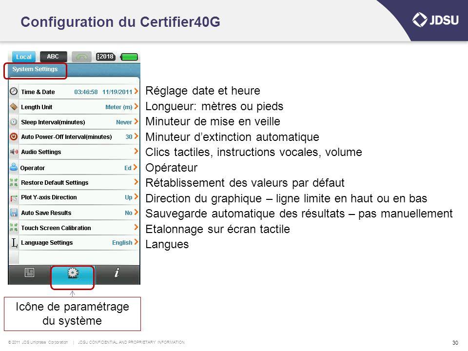 Configuration du Certifier40G