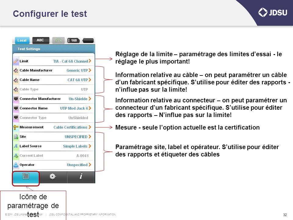 Icône de paramétrage de test