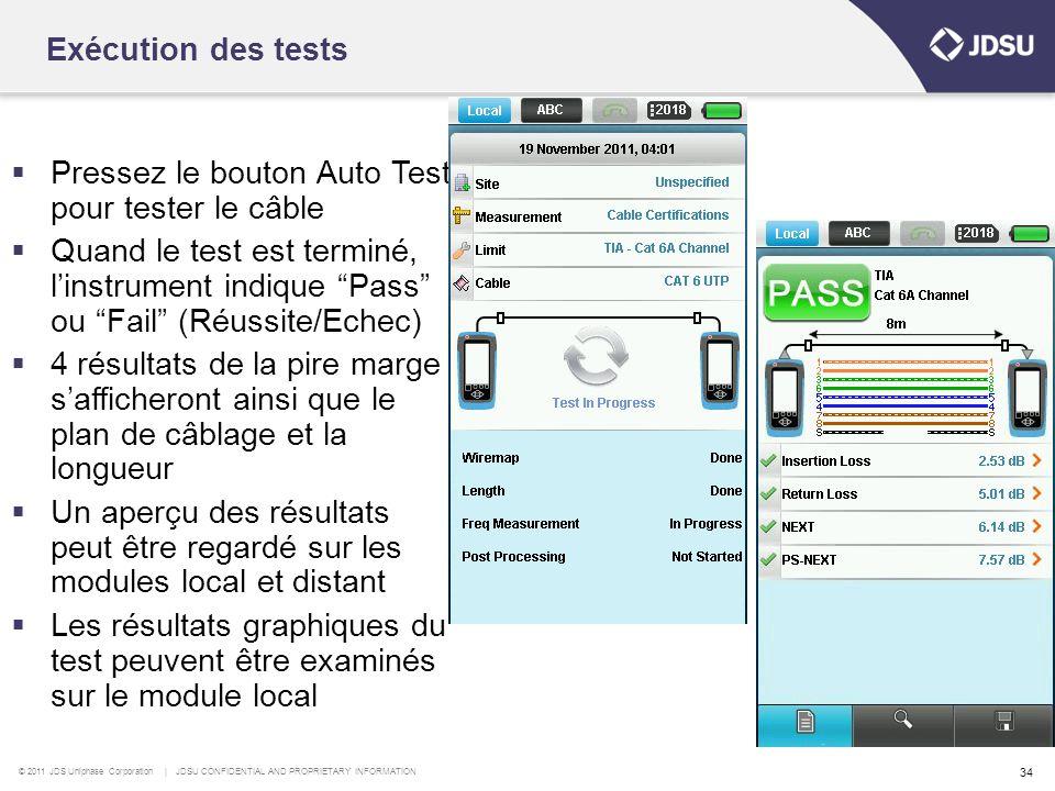 Exécution des tests Pressez le bouton Auto Test pour tester le câble.
