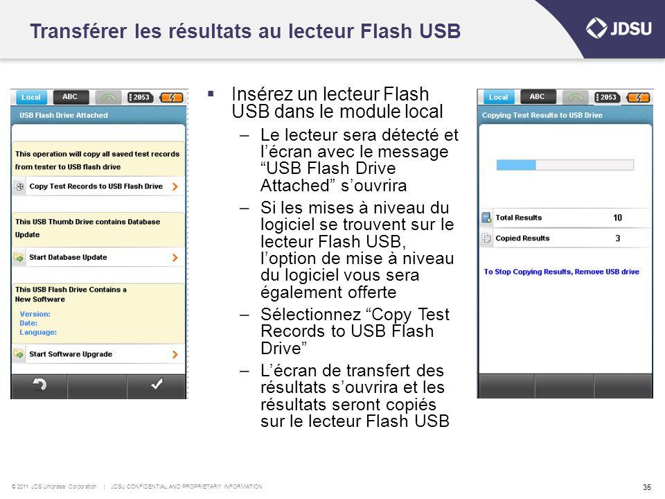 Transférer les résultats au lecteur Flash USB