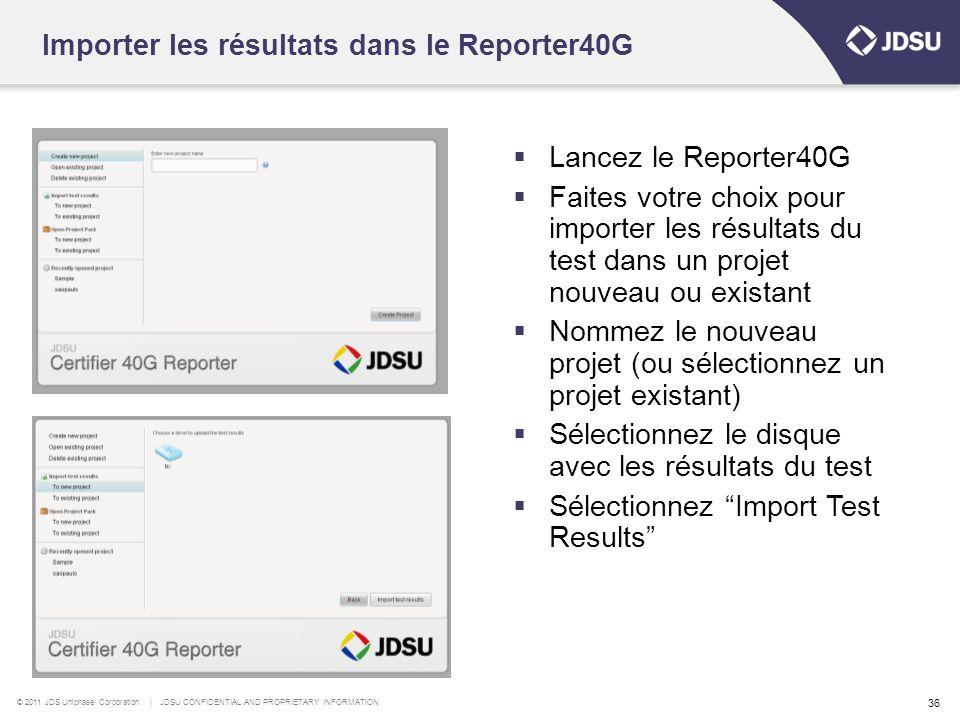 Importer les résultats dans le Reporter40G