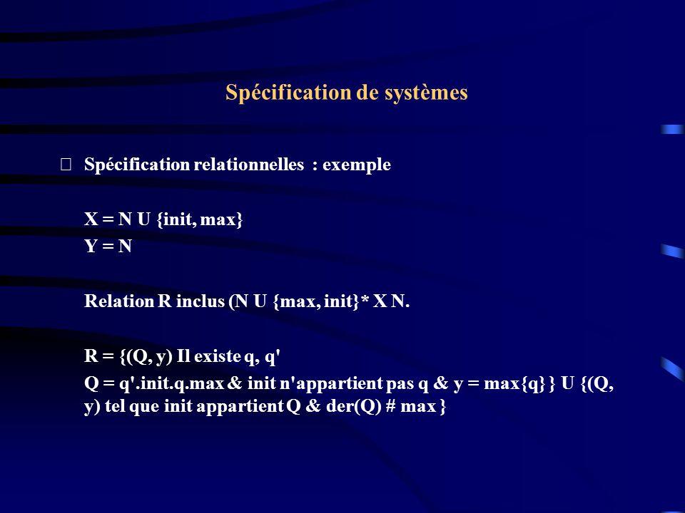 Spécification de systèmes