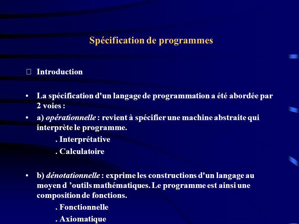 Spécification de programmes