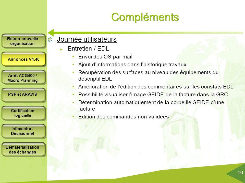 Compléments Journée utilisateurs Entretien / EDL Envoi des OS par mail