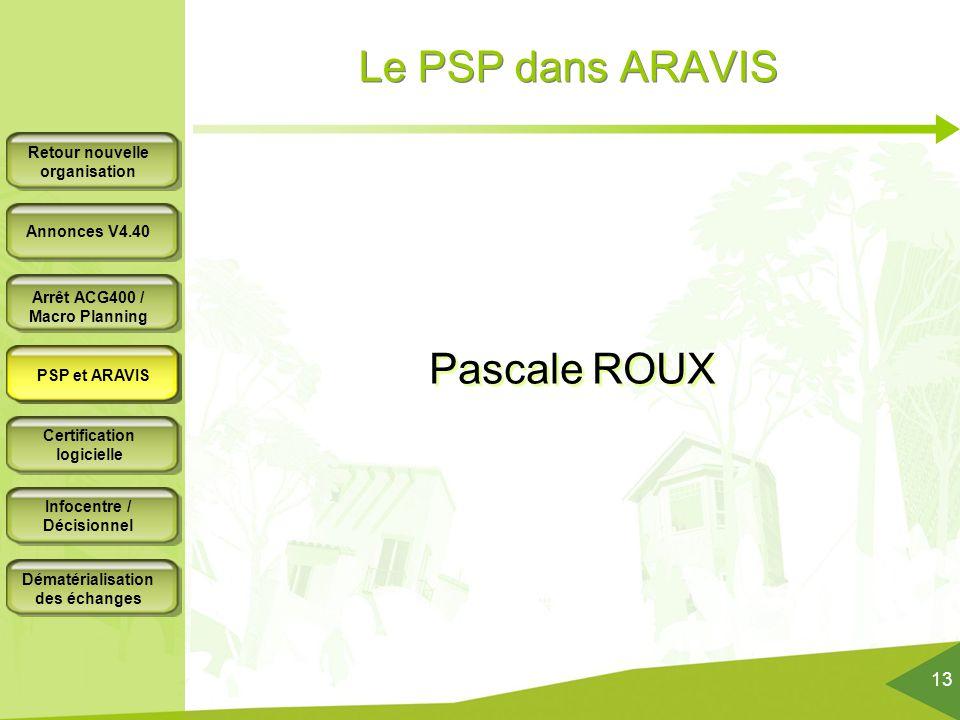 Le PSP dans ARAVIS Pascale ROUX PSP et ARAVIS