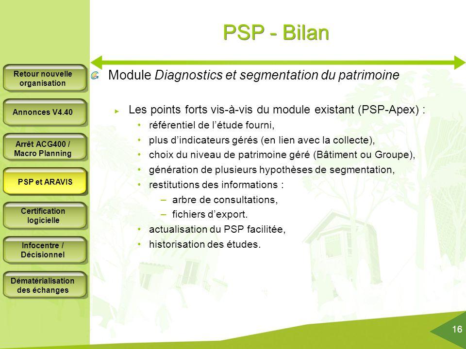 PSP - Bilan Module Diagnostics et segmentation du patrimoine