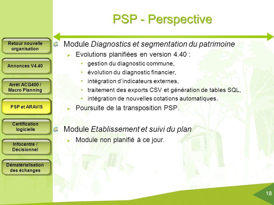 PSP - Perspective Module Diagnostics et segmentation du patrimoine