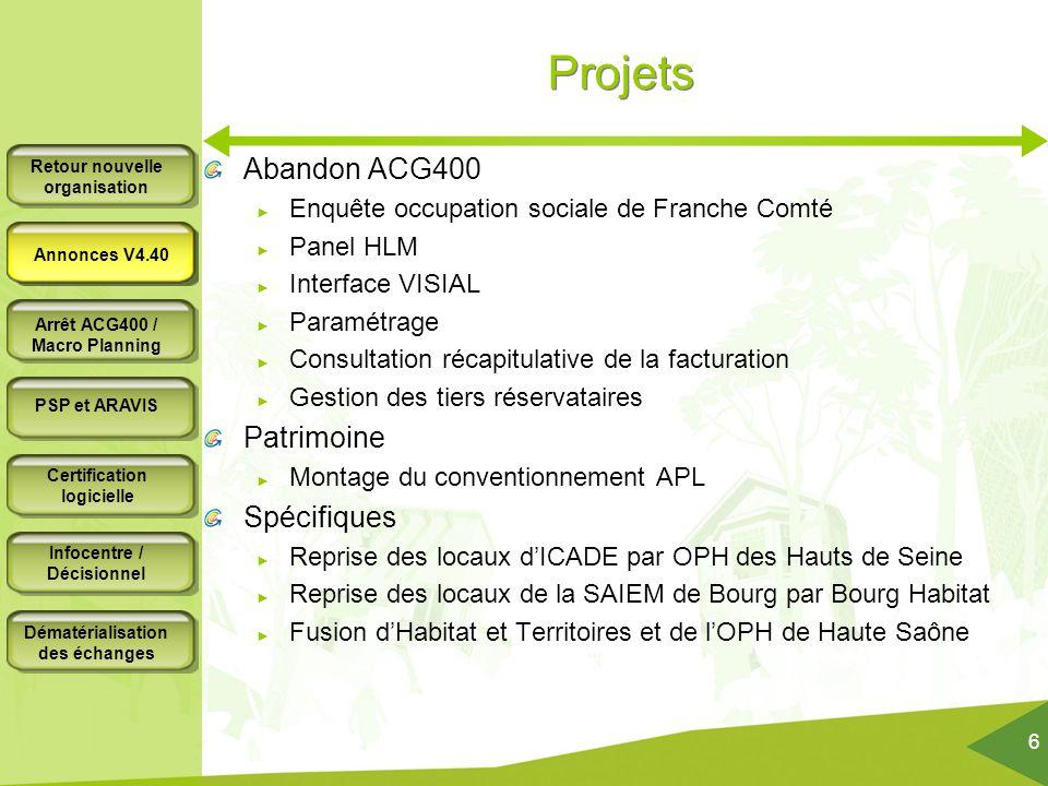 Projets Abandon ACG400 Patrimoine Spécifiques