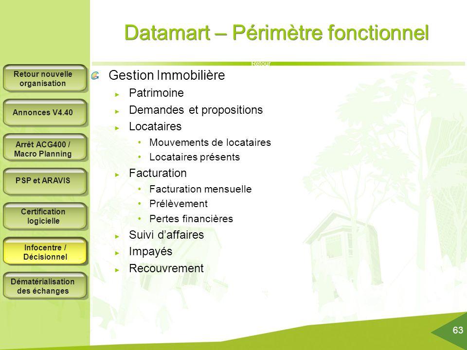 Datamart – Périmètre fonctionnel