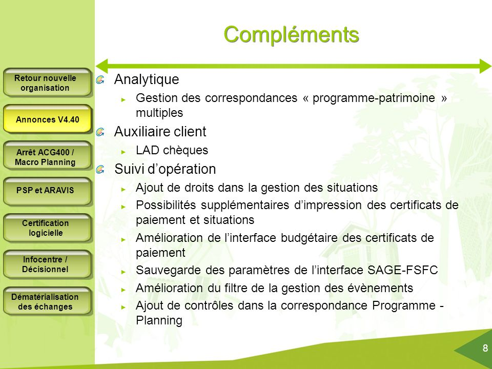 Compléments Analytique Auxiliaire client Suivi d'opération