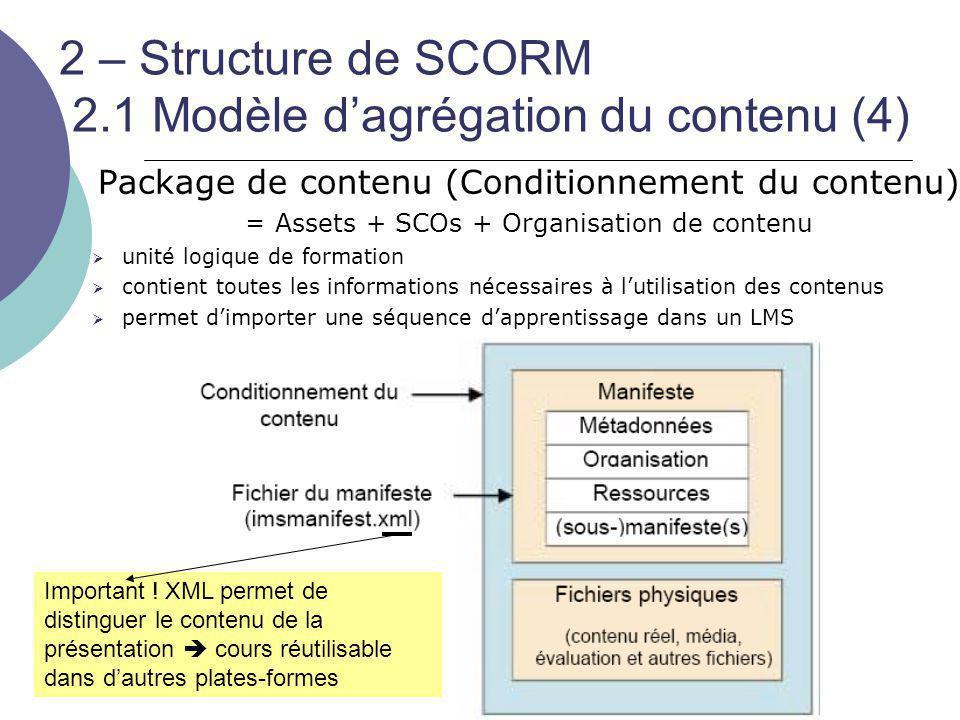 2 – Structure de SCORM 2.1 Modèle d'agrégation du contenu (4)