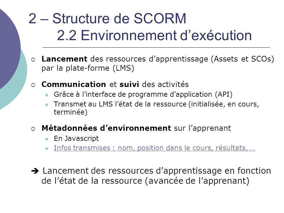 2 – Structure de SCORM 2.2 Environnement d'exécution