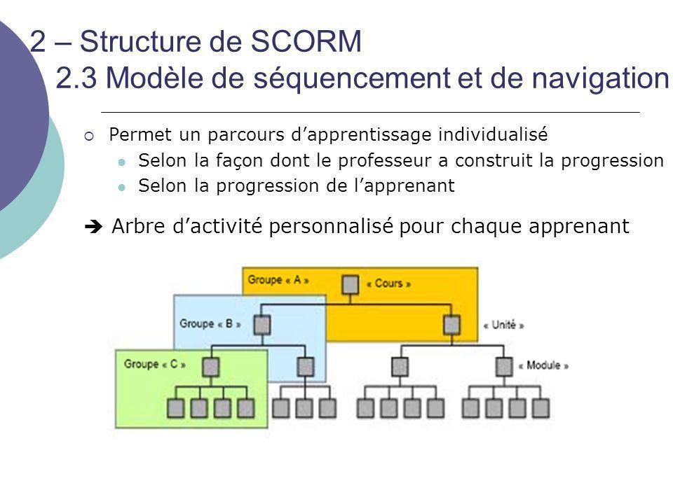 2 – Structure de SCORM 2.3 Modèle de séquencement et de navigation