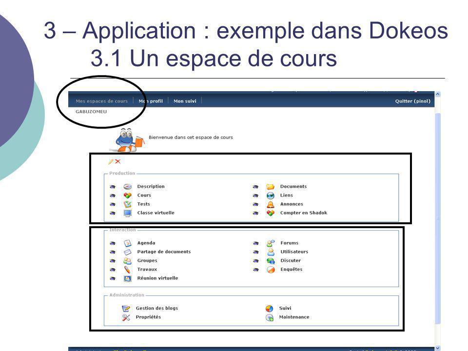 3 – Application : exemple dans Dokeos 3.1 Un espace de cours