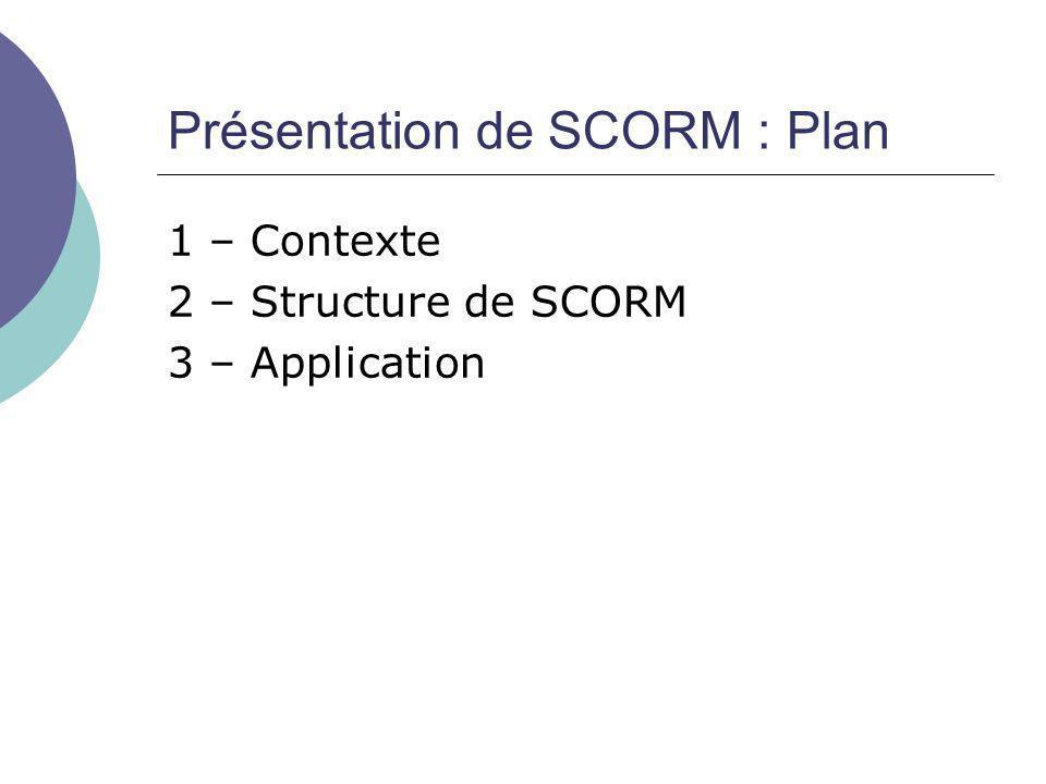Présentation de SCORM : Plan
