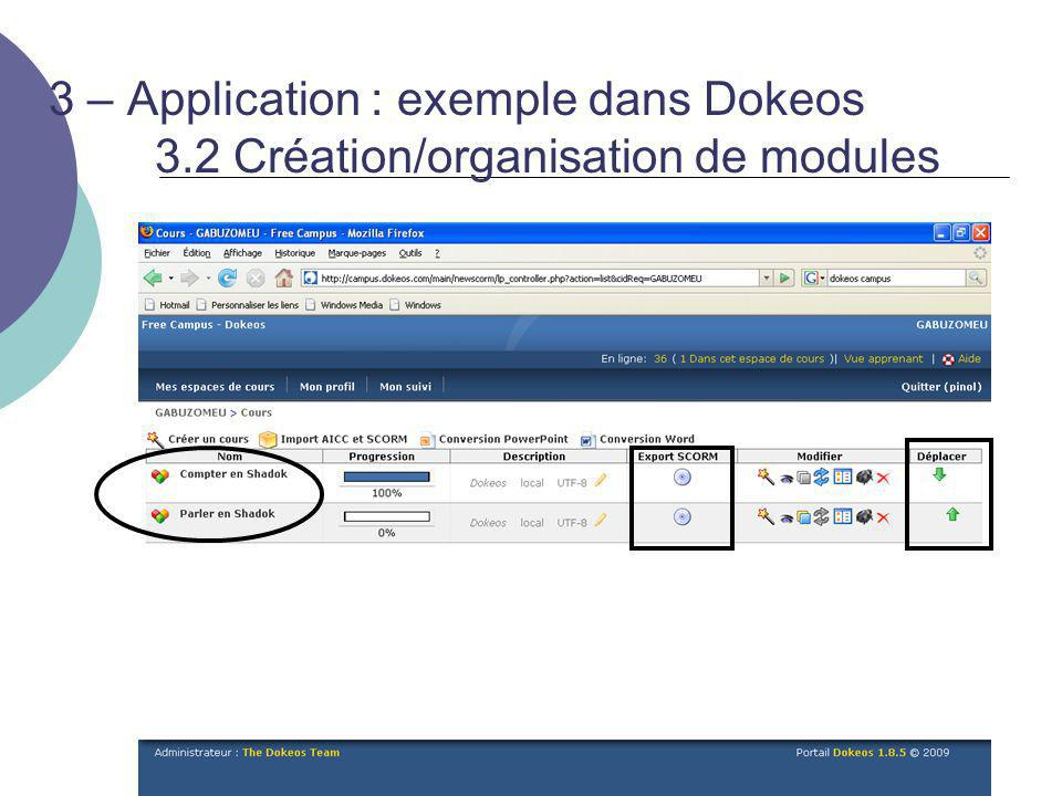 3 – Application : exemple dans Dokeos. 3