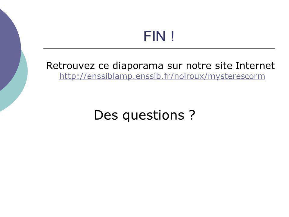 FIN ! Retrouvez ce diaporama sur notre site Internet http://enssiblamp.enssib.fr/noiroux/mysterescorm.
