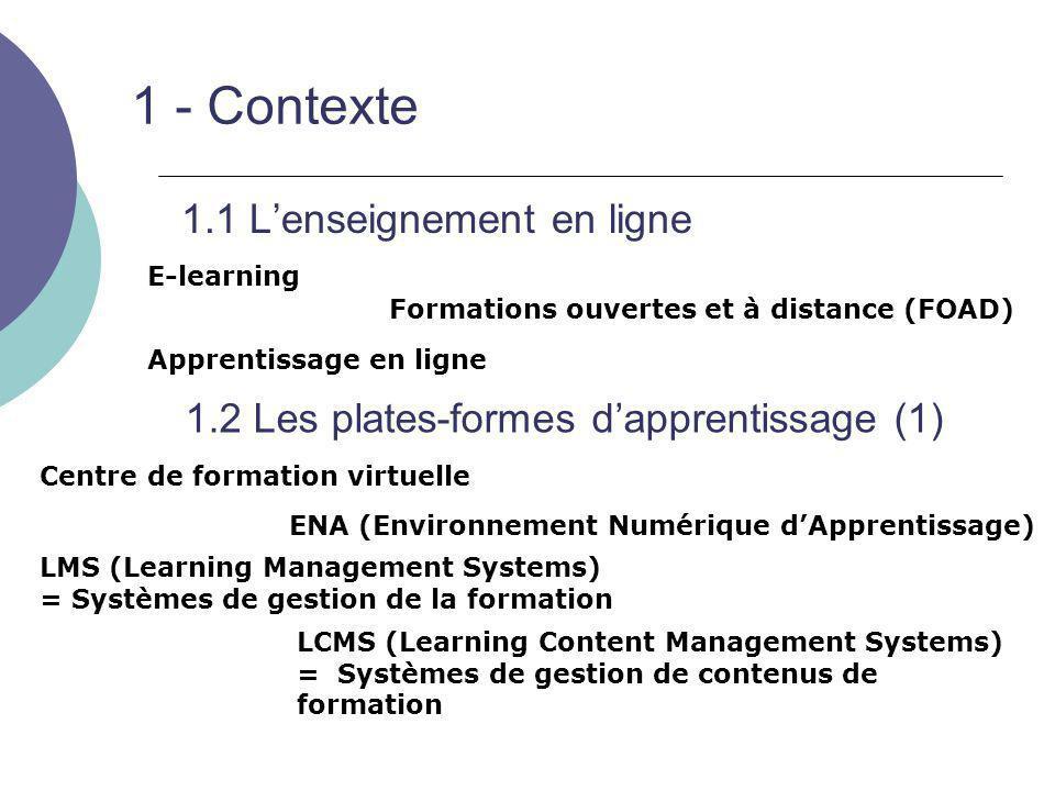 1 - Contexte 1.1 L'enseignement en ligne