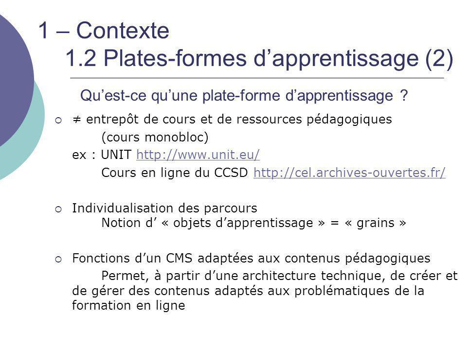1 – Contexte 1.2 Plates-formes d'apprentissage (2)