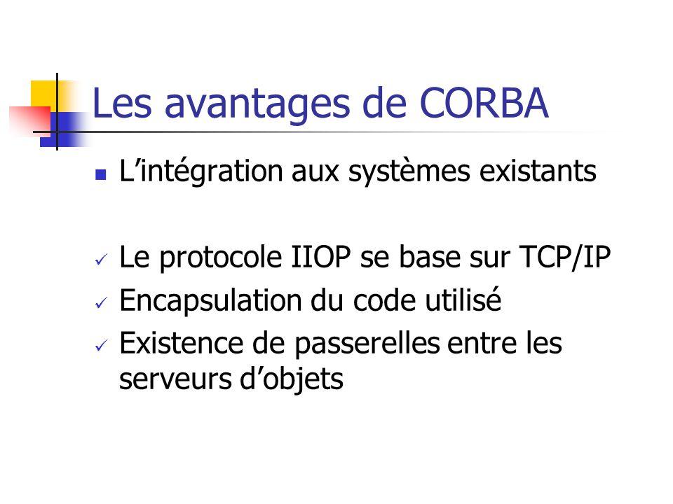 Les avantages de CORBA L'intégration aux systèmes existants