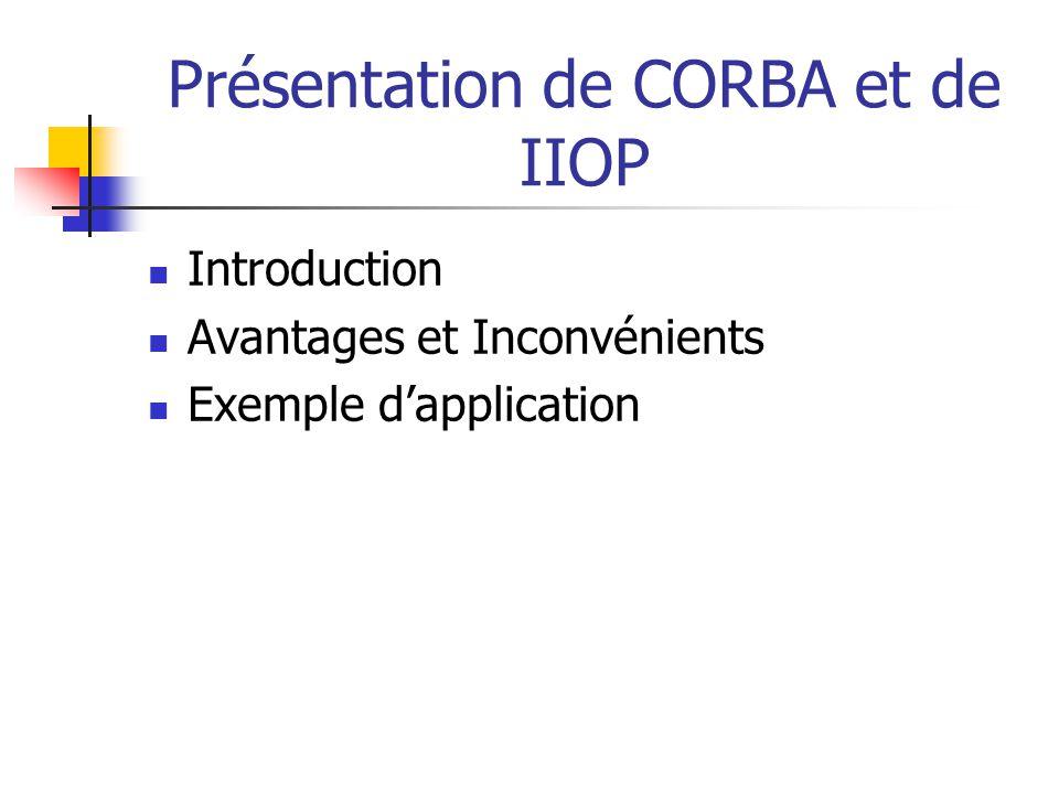 Présentation de CORBA et de IIOP