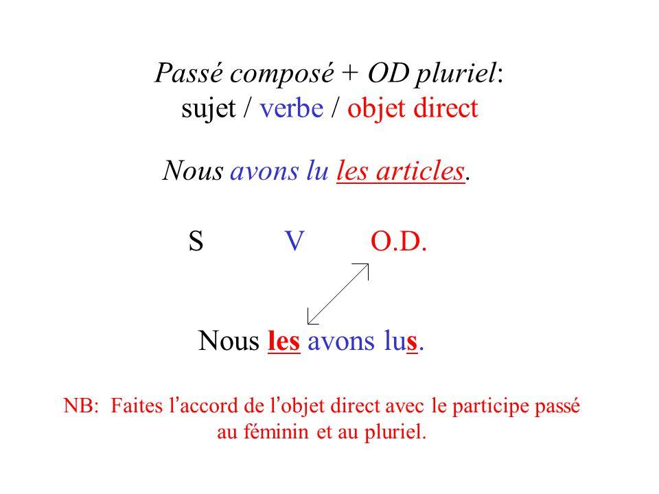 Passé composé + OD pluriel: sujet / verbe / objet direct