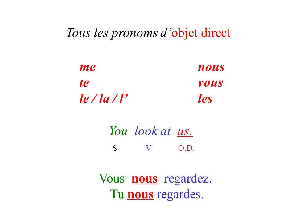 Tous les pronoms d'objet direct