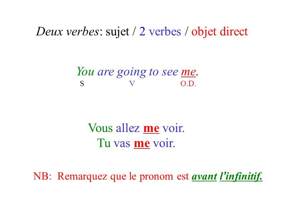 Deux verbes: sujet / 2 verbes / objet direct